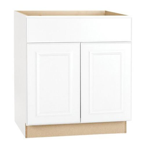 RSI HOME PRODUCTS HAMILTON BASE CABINET, FULLY ASSEMBLED, RAISED PANEL, WHITE, 30X34-1/2X24 IN.