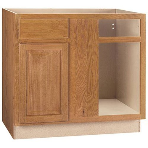 RSI HOME PRODUCTS HAMILTON BLIND CORNER BASE CABINET, FULLY ASSEMBLED, RAISED PANEL, OAK, 36X34-1/2X24 IN.
