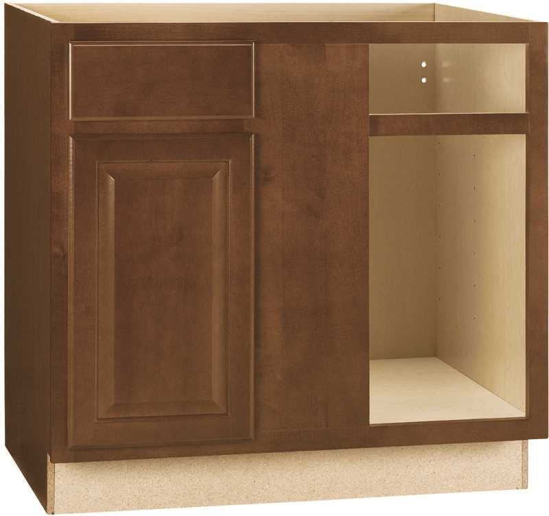 RSI HOME PRODUCTS HAMILTON BLIND BASE CORNER CABINET, FULLY ASSEMBLED, RAISED PANEL, CAFE, 36X34-1/2X24 IN.