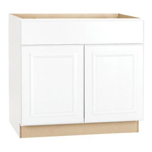 RSI HOME PRODUCTS HAMILTON SINK BASE CABINET, FULLY ASSEMBLED, RAISED PANEL, WHITE, 36X34-1/2X24 IN.