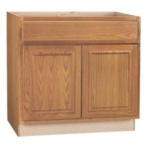 RSI HOME PRODUCTS HAMILTON SINK BASE CABINET, FULLY ASSEMBLED, RAISED PANEL, OAK, 36X34-1/2X24 IN.