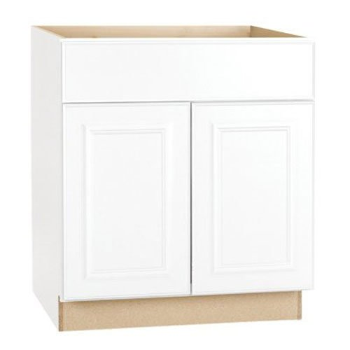 RSI HOME PRODUCTS HAMILTON SINK BASE CABINET, FULLY ASSEMBLED, RAISED PANEL, WHITE, 30X34-1/2X24 IN.