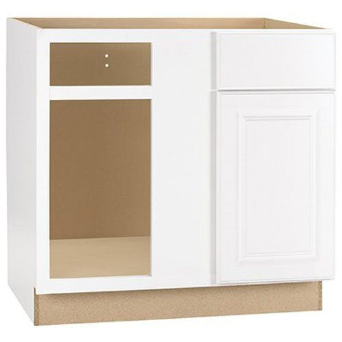 RSI HOME PRODUCTS HAMILTON BLIND CORNER BASE CABINET, FULLY ASSEMBLED, RAISED PANEL, WHITE, 36X34-1/2X24 IN.