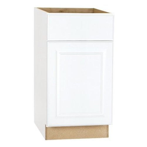 RSI HOME PRODUCTS HAMILTON BASE CABINET, FULLY ASSEMBLED, RAISED PANEL, WHITE, 18X34-1/2X24 IN.