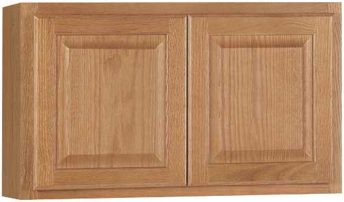 RSI HOME PRODUCTS HAMILTON KITCHEN WALL BRIDGE CABINET, FULLY ASSEMBLED, RAISED PANEL, OAK, 30X18X12 IN.