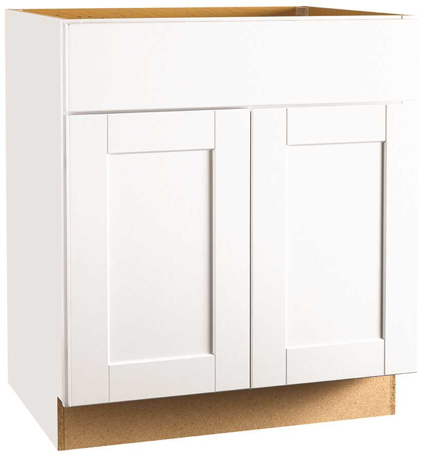 RSI HOME PRODUCTS ANDOVER SHAKER SINK BASE CABINET, WHITE, 30 IN.