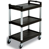 Black Three Shelf Bussing and Utility Cart
