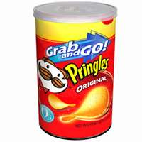 Pringles Grab N Go Potato Chips, 2.36 oz Can, Original