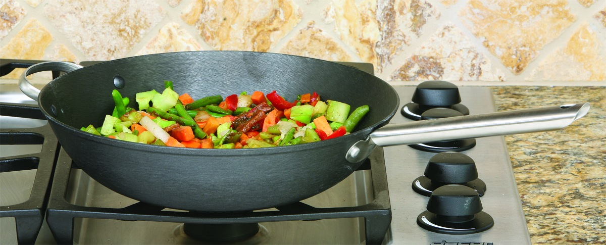 "COOKPRO 519 BLACK CHINESE WOK 13"" CAST IRON LIGHTWEIGHT HEAT"