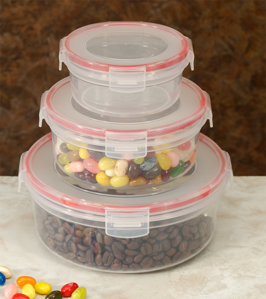 COOKPRO 618 FOOD CONTAINERS 6PC LOCK SEAL WITH ROUND COVER