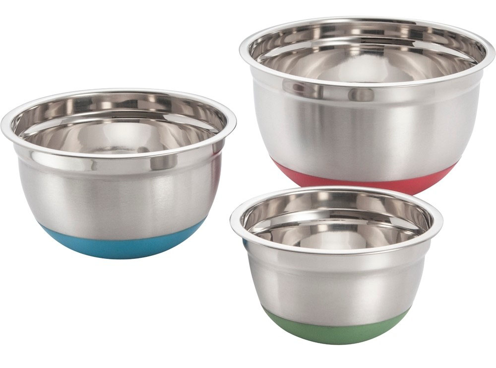 COOKPRO 797 STEEL MIXING BOWL 3PC SET COLORFUL NON SKID BASE
