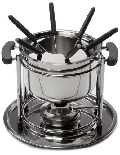 Cookpro 527 Stainless Fondue 11 Piece Set Gel Burner & Stainles