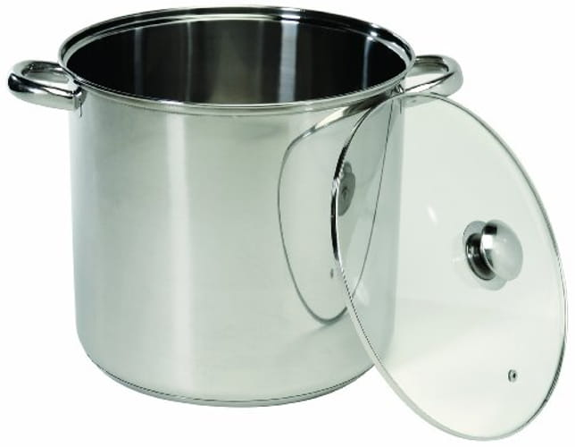 COOKPRO 551 STAINLESS STOCKPOT W/GLASS LID 20QT TEMPERED