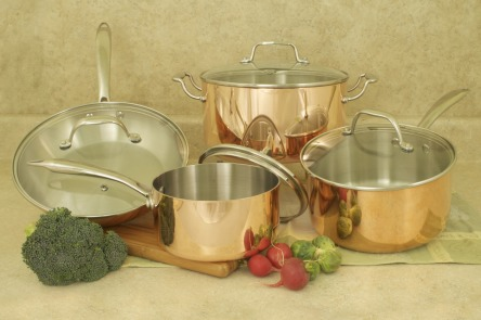 COOKPRO 546 TRI PLY 8 PC COPPER COOKWARE SET INCLUDES 1.5QT