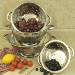 COOKPRO 741 4PC COLANDER SET STAINLESS STEEL INCLUDES 1.5 QT