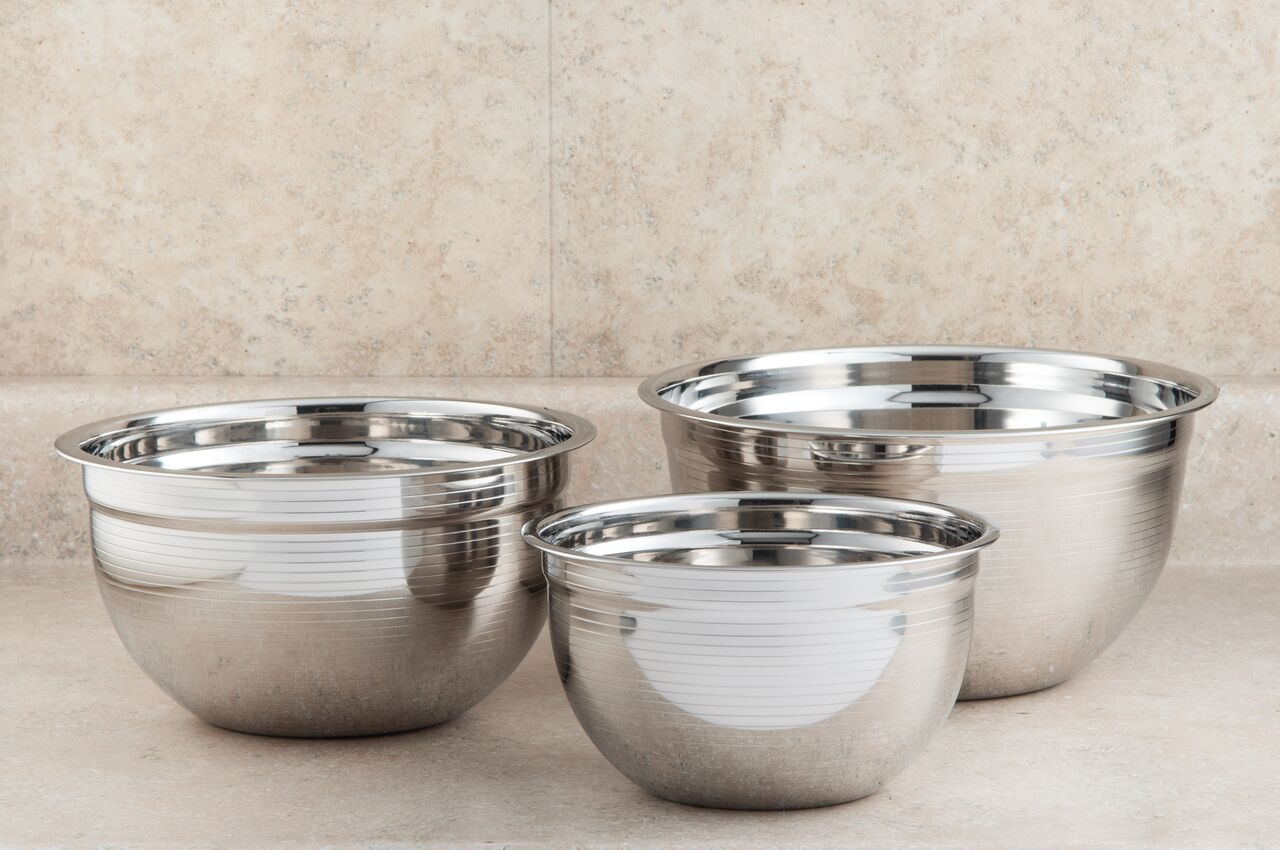 COOKPRO 718 STAINLESS STEEL RIPPLED MIXING BOWLS SET OF 3