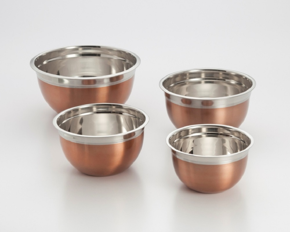 COOKPRO 720 SET OF 4 MIXING BOWLS STAINLESS STEEL WITH COPPER