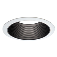 BAFFLE W/2 WH/TRIM BLK MTL 6IN