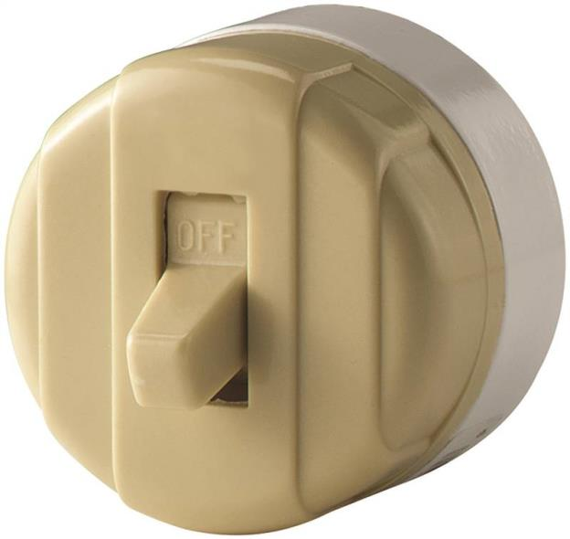 Cooper Wiring 735V-BOX Toggle Switch, 125/250 V, 10 A, 1 P, Ivory
