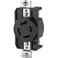 Cooper Wiring AHL1520R Single Receptacle, 250 VAC, 20 A, 3 Pole, 4 Wire, Black