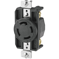 Cooper Wiring AHL1530R Single Receptacle, 250 VAC, 30 A, 3 Pole, 4 Wire, Black