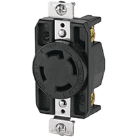 Cooper Wiring AHL1630R Single Receptacle, 480 VAC, 30 A, 3 Pole, 4 Wire, Black