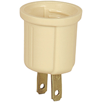Cooper 738V Keyless Polarized Medium Base Lampholder Adapter, 125 VAC, 2 Outlet, 2 Wire, Ivory