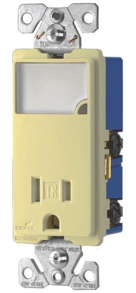 Cooper Wiring TR7735V-BOX Arrow Hart Receptacle/Night Lights, Dimmable LEDs, Ivory