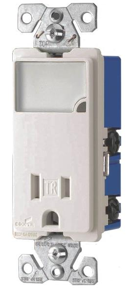 Cooper Wiring TR7735W-K-L Arrow Hart Receptacle/Night Lights, Dimmable LEDs, White