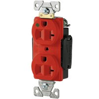 Arrow Hart AH8300RD Straight Blade Duplex Receptacle, 125 V, 20 A, 2 Pole, 3 Wire, Red