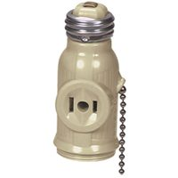 Cooper 718V-BOX Polarized Lampholder Adapter with Pull Chain Switch, 660 W, 125 VAC, Medium Base
