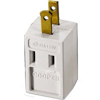 Cooper 4400W Non-Grounding Cube Outlet Adapter, 125 V, 3 Outlet, 2 Wire, White Plastic