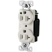 Arrow Hart AH8300W Straight Blade Duplex Receptacle, 125 V, 20 A, 2 Pole, 3 Wire, White