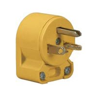 Cooper 4509AN-BOX Grounded Angled Electrical Plug, 125 VAC, 20 A, 2 P, 3 W, Yellow