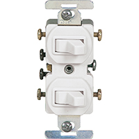 Cooper Wiring 276W-BOX Combination Devices, Duplex Toggle, Grounded, White