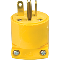 Cooper 4509-BOX Grounded Straight Electrical Plug, 20 A, 2 P, 3 W, Yellow