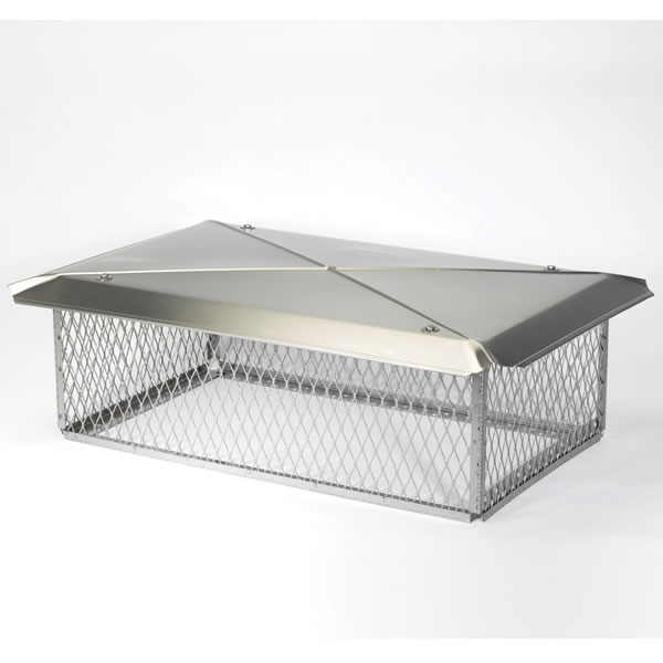 "17"" x 49"" Model Plus Gelco Stainless Steel Multi-flue Chimney Top, 10"" High 3/4"" Mesh"