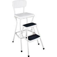 Cosco 11118WHT Comfortable Chair/Step Stool, 34.449 in H x 16.929 in W x 22.638 in D, Steel, White
