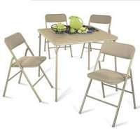Cosco 14551WHT Folding Folding Table and Chair Set, 5 Pieces, 28 in H x 34 in W Table, Steel, Tan
