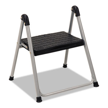 "Folding Step Stool, 1-Step, 200lb, 9 9/10"" Working Height, Platinum/Black"