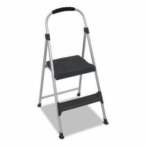 "Aluminum Step Stool, 2-Step, 225lb, 18 9/10"" Working Height, Platinum/Black"