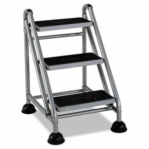 Rolling Commercial Step Stool, 3-Step, 26 3/5 Spread, Platinum/Black
