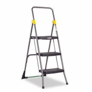 Commercial 3-Step Folding Stool, 300lb Cap, 20 1/2w x 32 5/8d x 52 1/8h, Gray