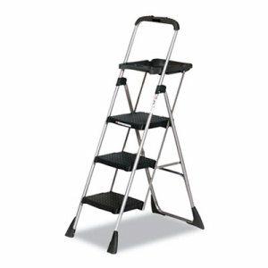 Max Work Steel Platform Ladder, 22w x 31d x 55h, 3-Step, Black