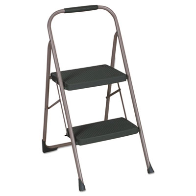 "2-Step Big Step Folding Stool, 200lb, 22"" Spread, Black/Gray"
