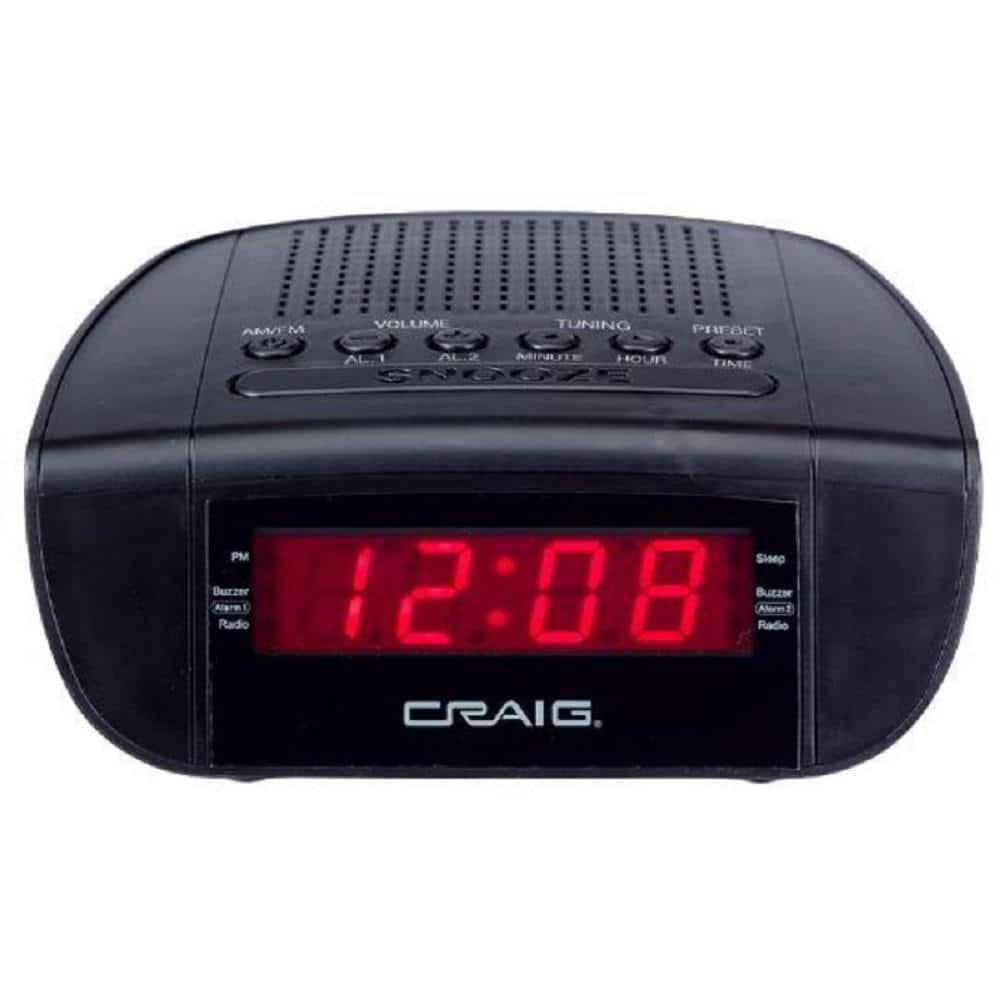CRAIG CR45329B BLACK DUAL ALARM CLOCK DIGITAL PLL AM FM RADI