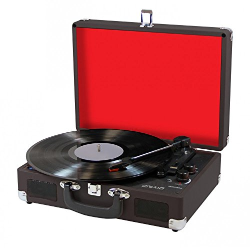 CRAIG CD698BK BLACK 3 IN 1 ATTACHE CASE TURNTABLE SYSTEM