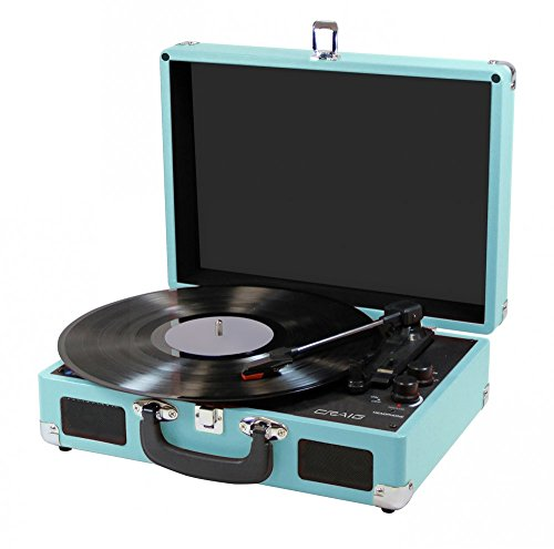 CRAIG CD698TE TEAL 3 IN 1 STEREO SUITCASE TURNTABLE SYSTEM