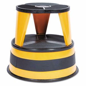 "Kik-Step Steel Step Stool, 350 lb cap, 16"" dia. x 14 1/4h, Orange"