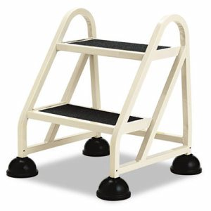 """Two-Step Stop-Step Aluminum Ladder, 23"""" High, Beige"""